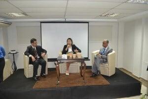 Mesa redonda: Marcos Andrade (Unimed SE), Natalie Schindler (CASSI-SE) e Luiz Soares (Hospital São Rafael)
