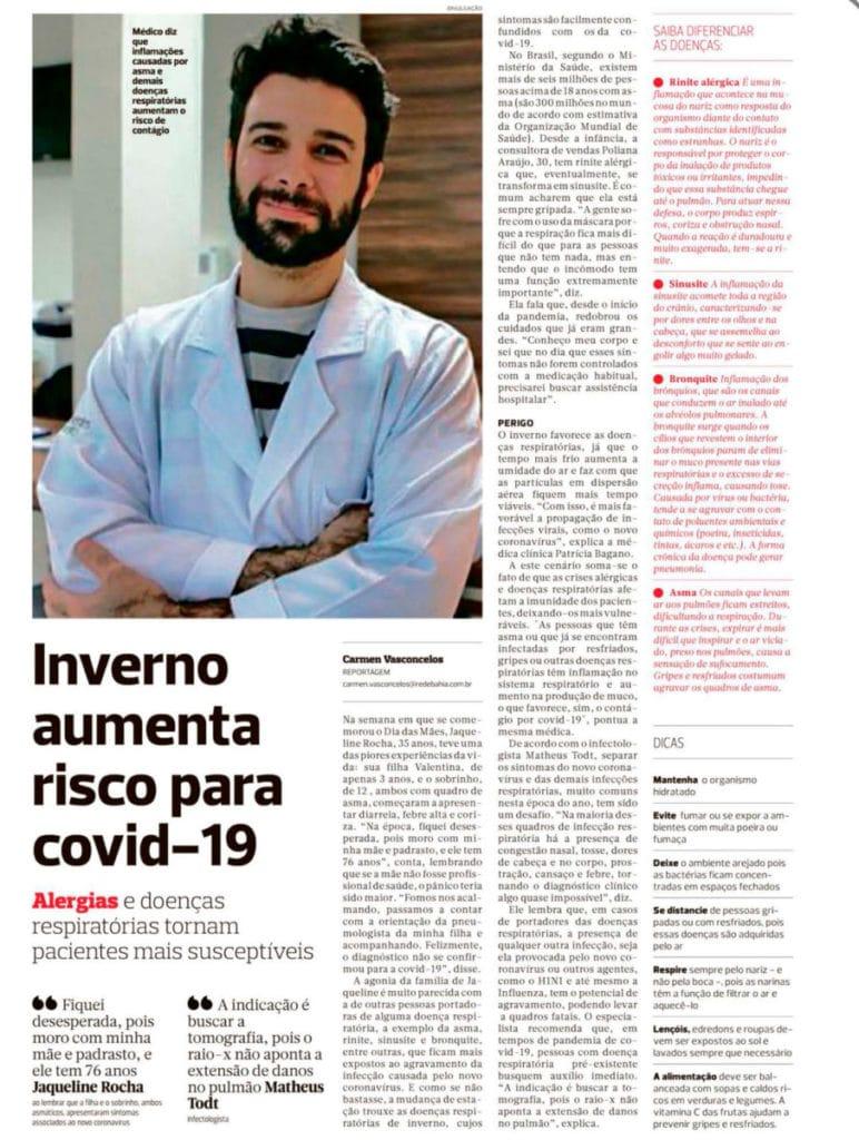 O infectologista Matheus Todt falou sobre doenças respiratórias e Covid-19 no Jornal Correio