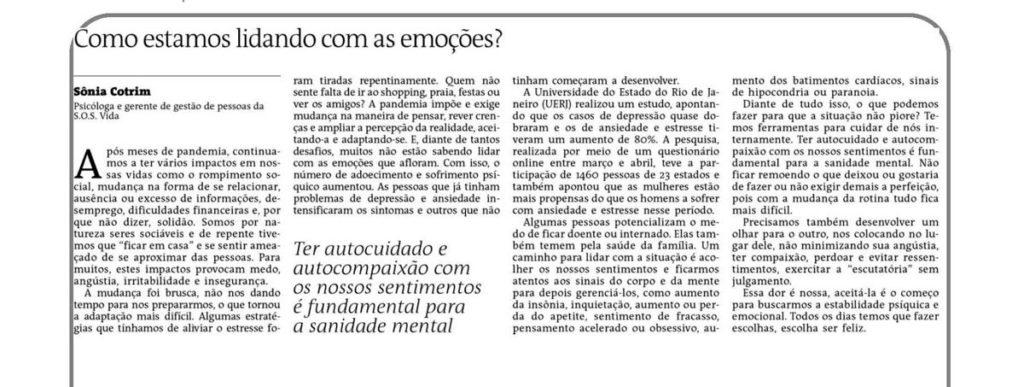 Artigo da psicóloga Sônia Cotrim publicado no jornal A Tarde