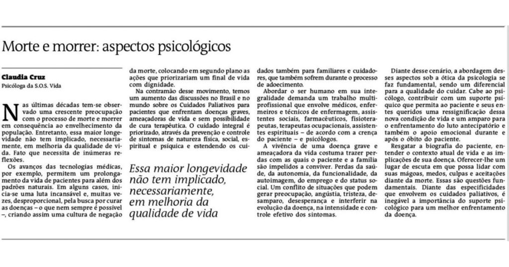 Morte e Morrer: Aspectos psicológicos   Jornal A Tarde 1
