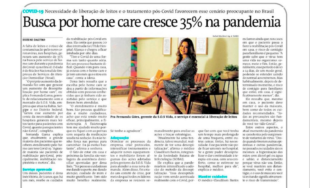 Fernanda Gama fala sobre o crescimento do Home Care para o jornal A Tarde